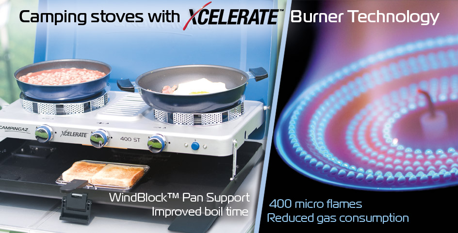 Camping stoves with Xcelerate Burner Technology